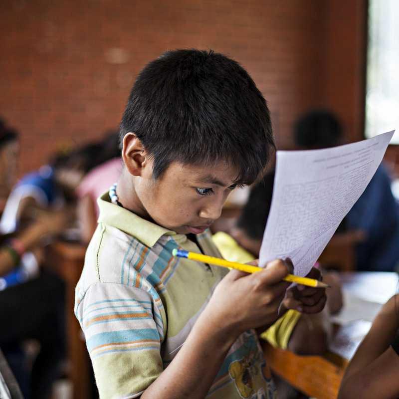 Junge schaut konzentriert auf ein Blatt Papier.
