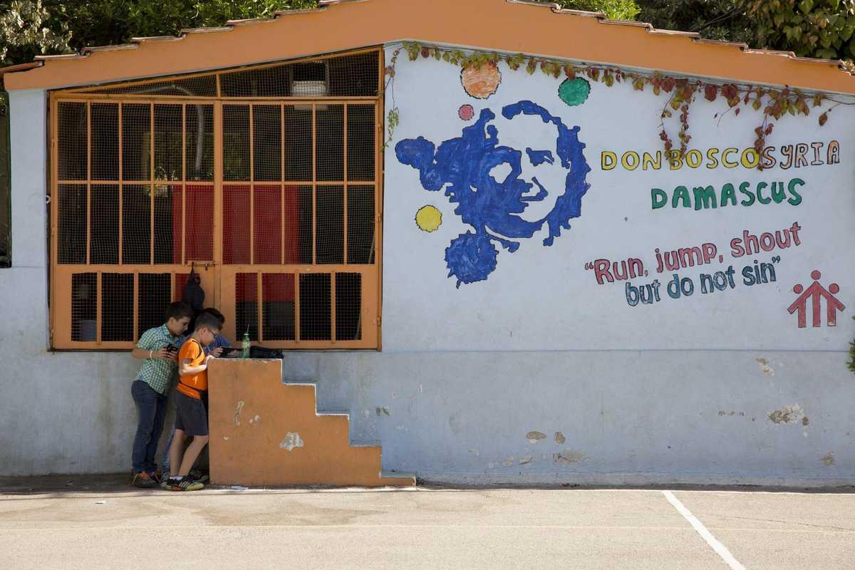 Eine bemalte Wand des Don Bosco Zentrum in Damaskus